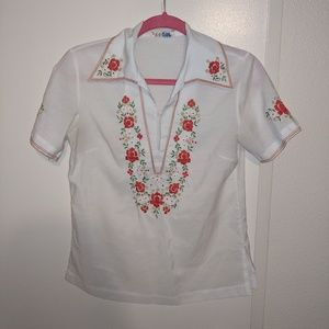 Gorgeous vintage white blouse with red embroidery